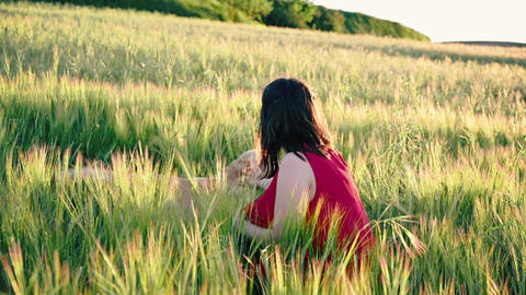 Cheerful young woman playing with her dog on the meadow at sunset. Cinematic Live Action