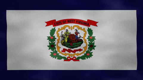 West Virginia dense flag fabric wavers, background loop Animation
