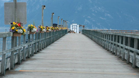 pier with flowers pan P HD 0033 Footage