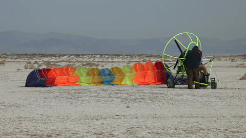 power parachute getting ready P HD 5293 Footage
