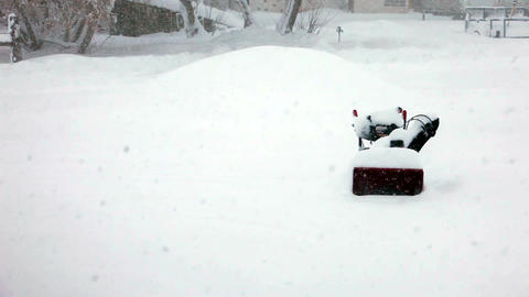 snow blower stuck in blizzard Footage