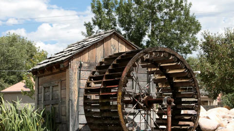 water wheel and shed P HD 1969 Footage