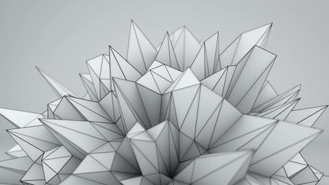 White polygonal shape in studio seamles loop 3D render Animation