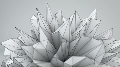 White polygonal shape in studio seamles loop 3D render, Banco de Videos Animados