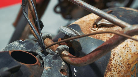 View of antique rusty motorbike Live Action