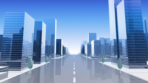 City Building Simple Modern Skyscraper business street background A4 sky 4k Animation