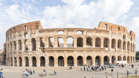 Colosseum in the city center of Rome, Italy Live Action