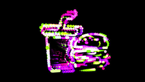 Circles gather in symbol burger soda. After it crumbles in a line and moves to the camera. Alpha CG動画