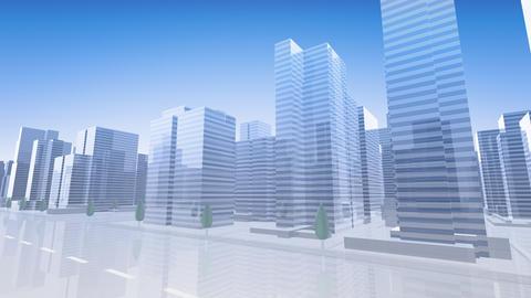 City Building Simple Modern Skyscraper business street background C2 sky 4k Animation