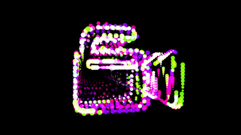 Circles gather in symbol camcorder. After it crumbles in a line and moves to the camera. Alpha CG動画