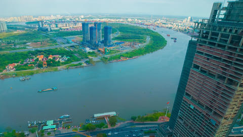 A timelapse of panoramic cityscape at Saigon river in Ho Chi Minh high angle ライブ動画