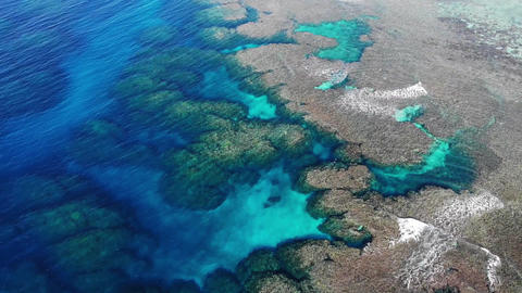 Drone aerial view of the beautiful blue sea that is rich in coral reefs of Ishigaki Live Action