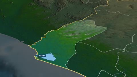 Grand Cape Mount - county of Liberia. Physical Animation
