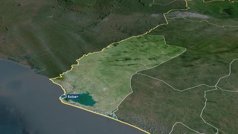 Grand Cape Mount - county of Liberia. Satellite Animation