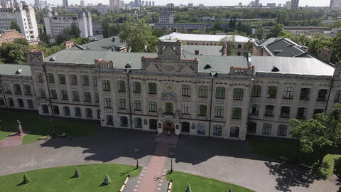 Architecture of Kyiv. Ukraine. Kyiv Polytechnic Institute. Aerial view. Slow Live Action