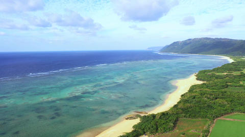 """Aerial view of drone aerial view of """"Haemida beach"""" on Iriomote Island Live Action"""