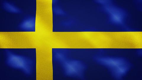 Swedish dense flag fabric wavers, background loop Animation