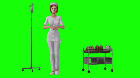 729 4k 3d animated avatar nurse walking and talking with medical items in scene Animation