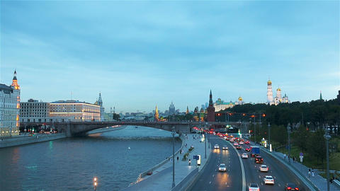 Panoramic view of Moscow landmark during sunset from Zaryadye Park Live Action