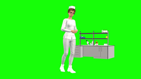 752 4k HEALTH SERVICE two different videos of Avatar nurse walking and talking Animation