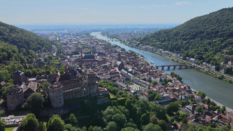 Aerial view over the famous city of Heidelberg Germany Live Action