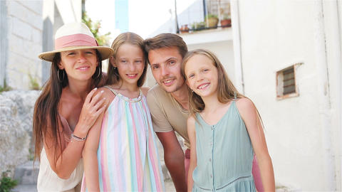Family of four on vacation in Europe Live Action