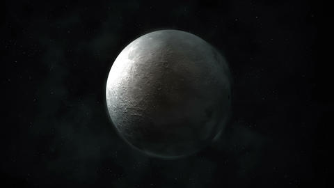 A spinning moon in a dark gray space Animation