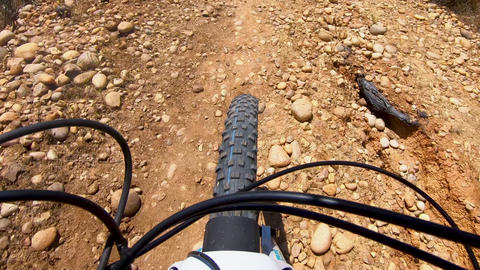 POV, Rrding mountain bike in a small singletrack dusty trail in the mountain Live Action