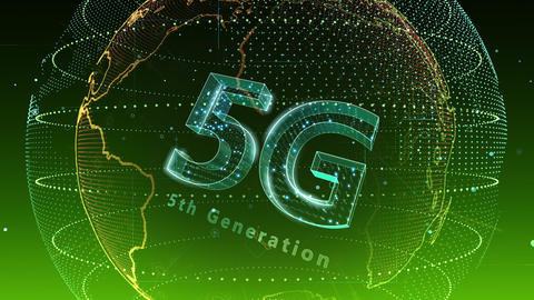 5G Digital Network technology 5th generation mobile communication concept background 5 N2 green 4k Animation