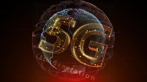 5G Digital Network technology 5th generation mobile communication concept background 5 N2 red 4k Animation