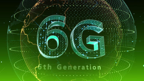 6G Digital Network technology 6th generation mobile communication concept background 5 F2 green 4k Animation