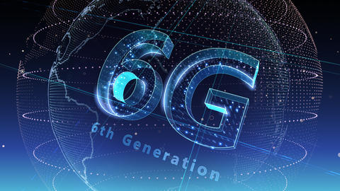 6G Digital Network technology 6th generation mobile communication concept background 5 N2 blue 4k Animation