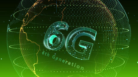 6G Digital Network technology 6th generation mobile communication concept background 5 N2 green 4k Animation