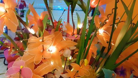 Decoration artificial flower close-up Live Action