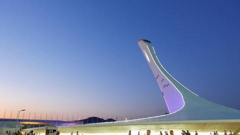 The main Olympic torch, after sunset. Sochi, Russia Footage