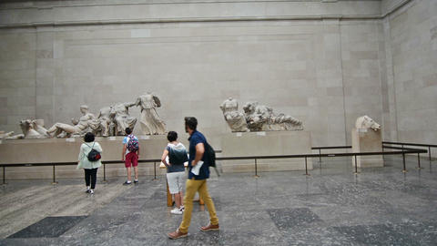 London, UK. Circa August 2016. Tourists visiting the Parthenon marbles in the Br Footage
