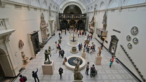 London. United Kingdom. August 2016. Visitors in Victoria and Albert museum Footage