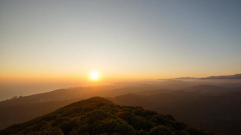 Sunset over Sochi, view from Mount Akhun. Zoom. TimeLapse. Russia Footage