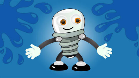Bulb lamp character animation scene in 4K on blue background. Cartoon style character actions such Animation