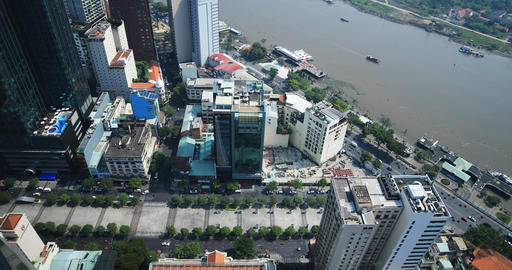 Nguen hue street near Saigon river in Ho Chi Minh high angle view daytime wide Live Action
