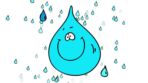 tranquil rainfall depicting many small water drops behind a heavy blue bubble suggesting the climate Animation
