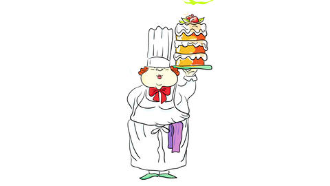 fat female baker working at a restaurant showing proudly a three story cake that she prepared for a Animation