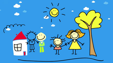 loving parents bonding with their kids forming a great team with cheerful attitudes playing outdoors Animation