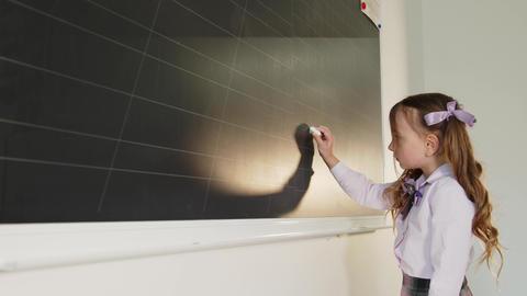 Little girl in a school classroom near the blackboard draws on the school Live Action