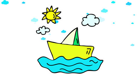 yacht sailing on the horizon in italy on sunny summer holidays suggesting the pursuit of freedom and Animation
