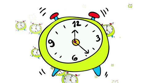 many alarm clocks ringing all at once representing the frustration of someone overworked lacking Animation