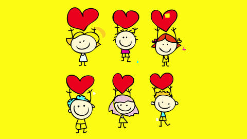 group of kids expressing their emotions with each other sharing love to one another holding up high Animation