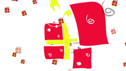 many gift boxes with red wrapping paper and yellow fancy ribbons floating around suggesting the many Animation