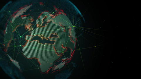 Global cyber technology concept Animation