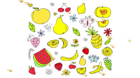 mixed exotic fruity pattern with many delicious dessert looking food and healthy vitamins rich Animation